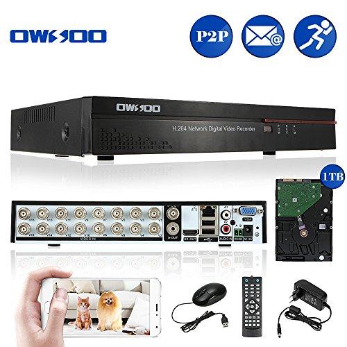 OWSOO 16CH Canal Complet CIF H.264 HDMI P2P Nuage Réseau DVR enregistreur Vidéo numérique + 1 TB Disque Support Audio Enregistrement Téléphone Contrôle Motion Detection Email Alarme PTZ
