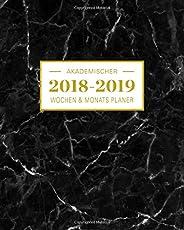 2018-2019 Akademischer Wochen- und Monatsplaner: Marmor Schwarz Terminkalender Organizer, Studienplaner und Notizbuch mit inspirierenden Zitaten ... Juli 2019 Wochenplaner (Planer Organizer)