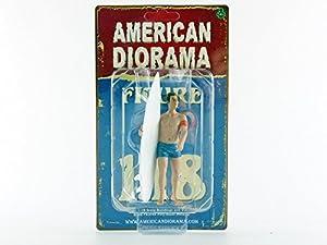 American Diorama-77441-Figura Surfista Greg-Escala 1/18-Azul/Blanco
