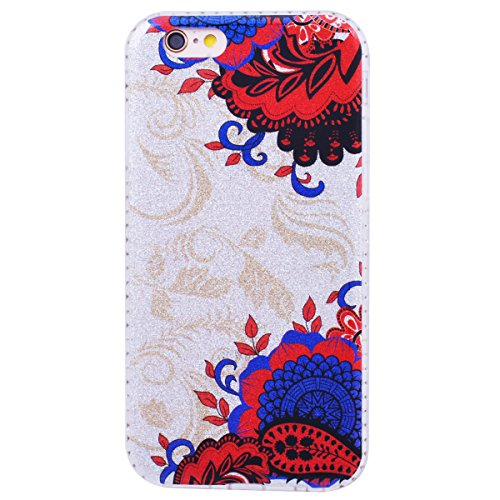WE LOVE CASE Coque iPhone 6 Plus, Coque de Protection en Hard PC Dur Coque iPhone 6S Plus Paillette Fleur Brillo Brillant Motif Anti Choc Bumper, Antichoc Rigide Resistante Coque Apple iPhone 6 Plus i Rouge