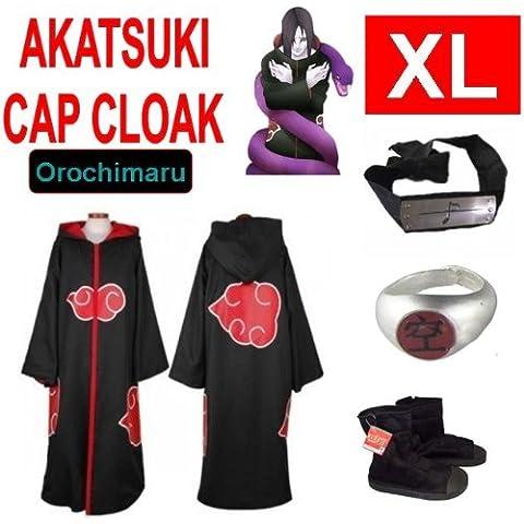 Naruto costume cosplay Set per Orochimaru- Akatsuki Mantello incappucciato + anello Akatsuki Orochimaru+ fascia + scarpe Naruto Akatsuki , taglia XL (altezza 177 cm-184 cm)