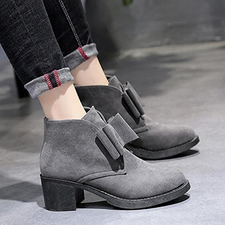 KHSKX-Martin Botas Botas High-Heeled Mujer Otoño Nueva Retro Y Botas Desnudo Pajarita Singles Femeninos Zapatos...