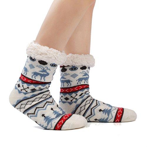 JARSEEN Damen Herren Kuschelsocken Winter Warme Socken Stoppersocken Hausschuhe Weihnachten mit ABS Rutschfest