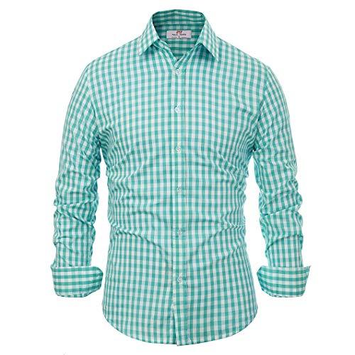 Paul Jones®Men's Shirt Herren Paul Jones Beiläufiges Plaid-Kleid-Shirts Checkered Hemd groß grüne karierte - Hemd Französisch Grün Manschette