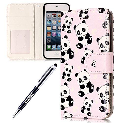 Kompatibel mit iPod Touch 5 Hülle iPod Touch 6 Hülle Muster Pu Leder Brieftasche Hülle Flip Tasche Handyhülle Wallet Case Handy Schutzhülle Kunstleder Cover Panda