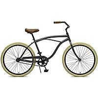 Critical Cycles Herren Chatham Men's Single Speed, Graphite und Beige Beach Cruiser, Graphite and Beige, One Size