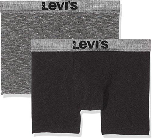 Levi's Herren Shorts Levis 200SF Slubyarn Dot Boxer Brief 2P, 2er Pack, Mehrfarbig (Jet Black 884), Small (Hoch Und Levis Groß)