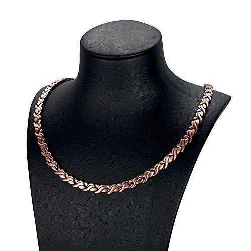 RainSo Damen Halskette mit Magnettherapie aus reinem Kupfer zur Schmerzlinderung bei Arthritis (Kupfer Magnetische Halskette)