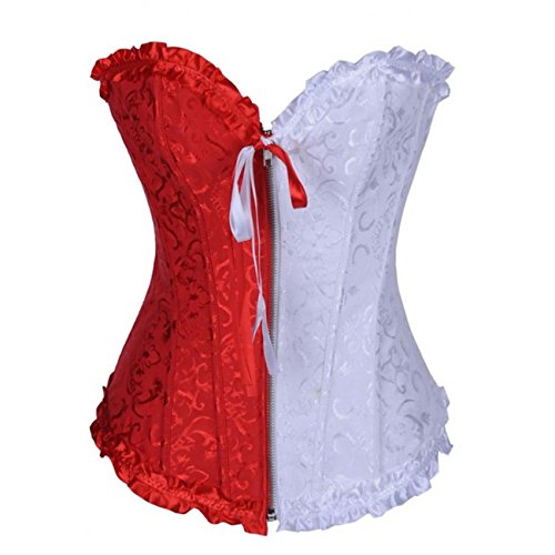Dissa Tapestry Front Zipper Deman 2018 Klassisch Corsage Korsett mit G-String,Rot Weiß,XL (Tapestry-korsett-set)