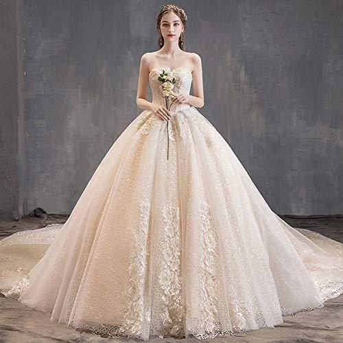 IOIOA Brautkleider, Light Main Hochzeit Braut Tube Top Champagner Schwanz Schwanz Französisch Hepburn Super Fairy Einfache Long Tail Brautkleid - Champagner,XL