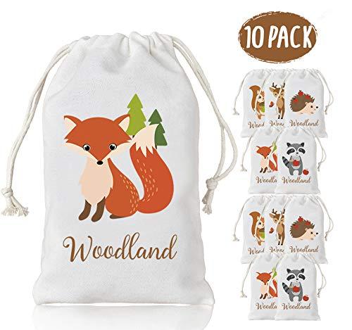 KREATWOW Baumwolle Mitbringsel Taschen, Tier Geschenk Drawstring Taschen, Süßigkeiten Taschen für Geburtstagsfeier, Baby-Dusche, Hochzeit