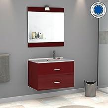 Meuble salle de bain rouge for Amazon meuble salle de bain