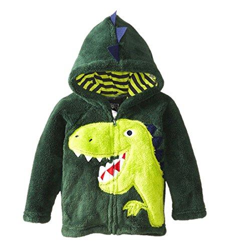 KKia Manteau Enfant Garçons Veste Capuche Polaire Toison Blousons Costume Dinosaure pour Vert 1 2 3 4 5 6 Ans
