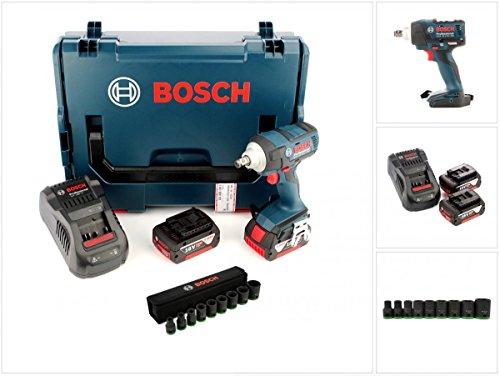 Preisvergleich Produktbild Bosch GDS 18 V-EC 250 Professional brushless Akku Dreh Schlagschrauber in der L-Boxx + Schnellladegerät + 2x GBA 6 Ah Akku + 1/2' Steckschlüssel Einsatz 9-tlg.