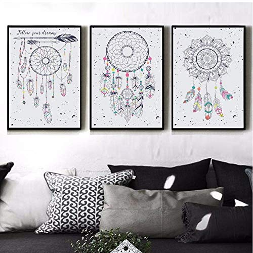 Decoración nórdica para el hogar Atrapasueños Pintura de la lona Arte de la pared Cuadros de acuarela Pintura al óleo 3 cuadros de pared para sala de estar Carteles Sin marco 35 * 50cm*3
