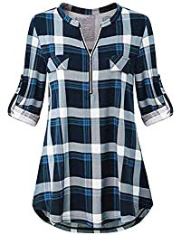 7fc06940cec Odosalii Womens Zip Up Plaid Tunic Blouse Rolled Up Sleeve Polo Top Check  Shirts