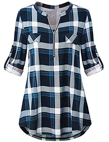 Odosalii Damen V-Ausschnitt Kariert Bluse 3/4 Ärmel Langarm Reißverschluss Tunika Longshirt Hemd Tops T-Shirt (XXX-Large, A_Blau Kariert)