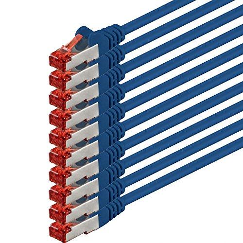 Preisvergleich Produktbild 1aTTack CAT6 PIMF SSTP Netzwerkkabel mit 2 x RJ45 Connector Set doppelt geschirmt 5 er Pack blau - 10 Stück 7,5 Meter