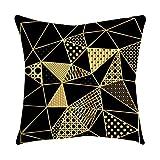 Qinpin Kissenbezüge, Rosen-Schwarz/Gold, quadratischer Kissenbezug für Zuhause, Polyester, C, 45cm * 45cm / 18 * 18
