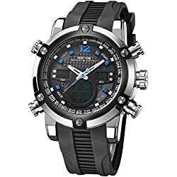 Alienwork DualTime Analogue-Digital Watch Chronograph LCD Wristwatch Multi-function Polyurethane black black OS.WH-5205J-03