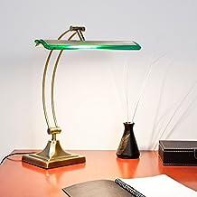 Lámpara LED Banker, lámpara de mesa de latón antiguo / verdes 700 lúmenes, 10W, cálido 3000K blanco