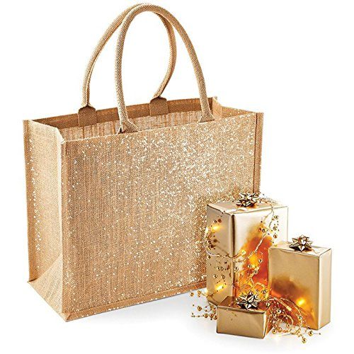 Westford Mill Shimmer iuta shopper Gold Shimmer particolare discussione lunghezza