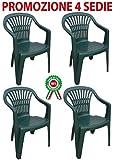4 Pz Poltrona sedia Scilla in dura resina di plastica verde impilabile con braccioli