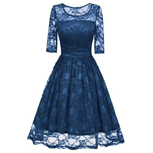 Kobay Damen Vintage Spitze Patchwork Hochzeit Cocktail Party Lässige Halbe Ärmel Kleid