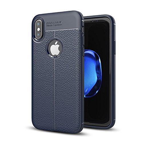 DBIT iPhone X Custodia ,Coperchio di Protezione Compatto Litchi pelle con Cassa Antiurto in Silicone Ultra Morbido e Leggero TPU Case Cover + 1 Pellicola Protettiva per iPhone X Smartphone,Grigio Blu