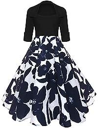 Vestidos de Mujer, Lenfesh Vintage Retro 50s Rockabilly Audrey Dress Vestido de Fiesta Floral Estampado