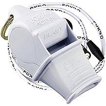 FOX40 Sonik CMG Safety - Silbato de árbitro/entrenador y correa de seguridad blanco blanco Talla:talla única