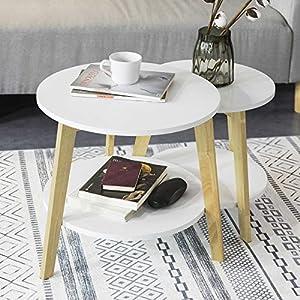 SoBuy FBT75-W 2er Set Beistelltisch mit runden Ablagen Satztisch Couchtisch Sofatisch Kaffeetisch Wohnzimmertisch…