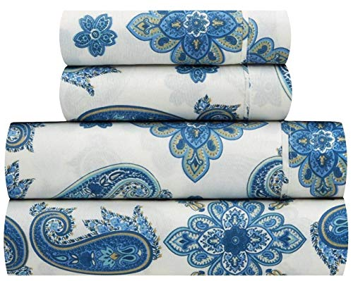 Waverly Traditions Talcott Twirl ägäis blau geblümt 4 rauscheiben. Bed Sheet Set Full blau -