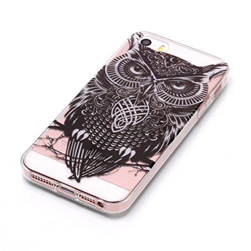 Custodia iphone SE/5/5s - Cover iphone SE/5/5s - Cozy Hut Case per iphone SE/5/5s [Ultra-Thin] Air Skin [Soft Clear] Premium Semi-transparent Super Lightweight, Custodia per iphone SE/5/5s - Fiore mez Gufo staring