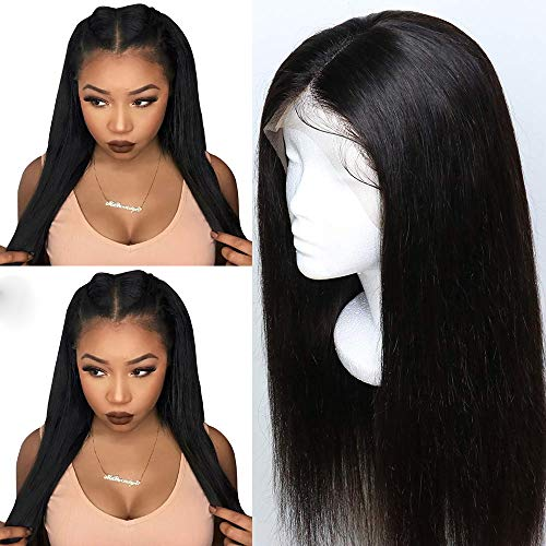 Fureya Hair Synthetic Hair Lace Front Wig for Women Straight Pre Plucked Hairline with Baby Hair Natural Color 26 inch Lace Wigs -