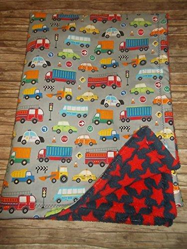 kuschelige Babydecke Kuscheldecke Jungs Fahrzeuge Sterne grau blau rot