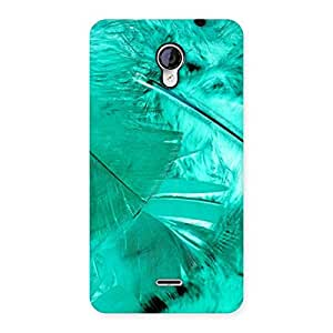 Cute Feather Cyan Back Case Cover for Micromax Unite 2 A106