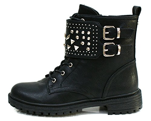 Gaudi Anfibio Donna Valentina Zip Borchie Leather Black_38