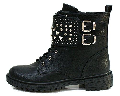 Gaudi Anfibio Donna Valentina Zip Borchie Leather Black_40
