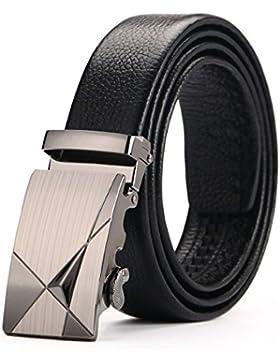 ATUSIDUN Cinturón Hombre Automático Cinturón Hombre Cuero Cinturon Negro Con Hebillas Metal Pulida Envase de Caja...