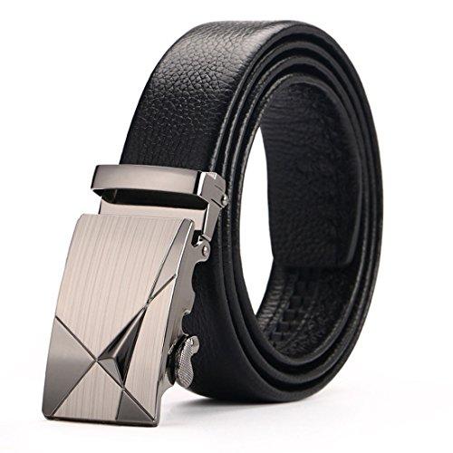 Atusidun cintura uomini perno della cinture da uomo in regolabile pelle fibbia automatic in nero with lucida metal vera pelle stile vintage 115-125cm
