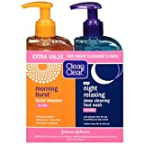 Clean & Clear Morning Burst Facial Cleanser & Night Relaxing Deep Cleaning Face Wash, 8 fl oz, 2 count