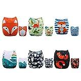 Alva Baby - Pannolini lavabili e riutilizzabili in tessuto, 6 pz, 12 inserti.