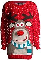 Fast Fashion Damen Unisex Rudolph Drucken 3D Nase Pom Pom Weihnachts Pullover