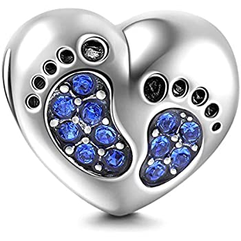 aeeadfea8 Baby Foot Step Charms 925 Sterling Silver Charm Beads for Bracelets  Birthstone Birthday Gifts Jewellery (Blue)
