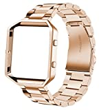 iitee Replacement for Fitbit Blaze Bands Stainless Steel Frame, Small Large Smart Watch Band Strap Fitbit Blaze Smart Fitness Watch Women Men (Steel Rose Gold Band + Rose Gold Frame)