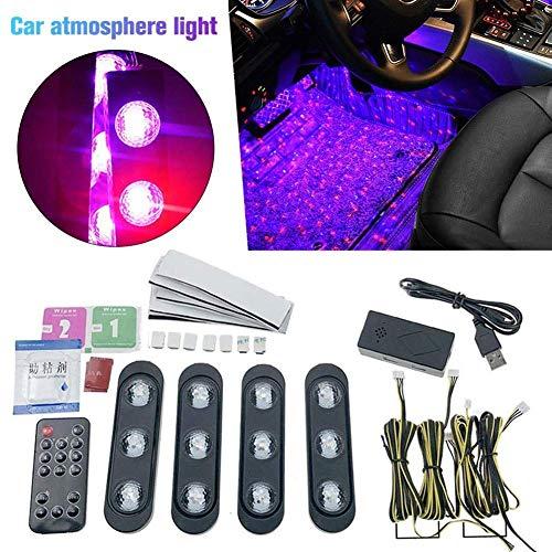 Luci D'atmosfera Auto, LED USB Luci Decorative, Suole Colorate Controllo Vocale Luce del Ritmo Stellata, Adatto per La Maggior Parte delle Automob