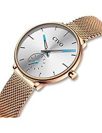 CIVO Relojes para Mujer Reloj Damas de Malla Impermeable Minimalista  Elegante Banda de Acero Inoxidable Lujo b317d19e6a11