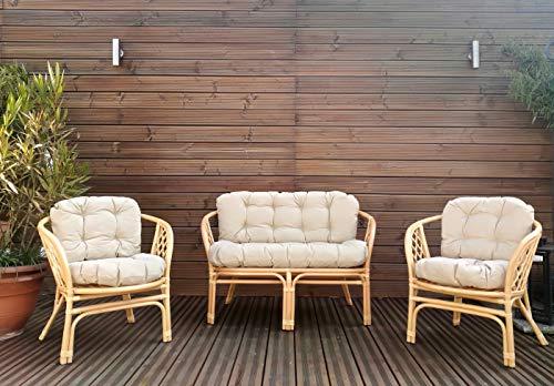 Mayaadi Home Gartenbankauflagen 6 teiliges Sitzkissen-Set Sitzpolster für Gartengarnitur Set Steve Beige JCG1