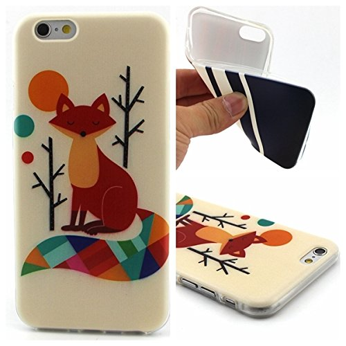 Uming® Retro buntes Muster drucken Weiche TPU Hülle (* für IPhone6 IPhone6S Iphone 6 Iphone 6S | Oblique white stripes *) Silikon Shell Schutz mobile Handy Fall Abdeckung Case Cover Fox eyes closed